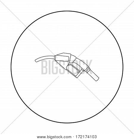 Fuel nozzle icon in outline style isolated on white background. Oil industry symbol vector illustration.