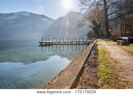Beautiful Landscape At Lake Attersee In Unterach
