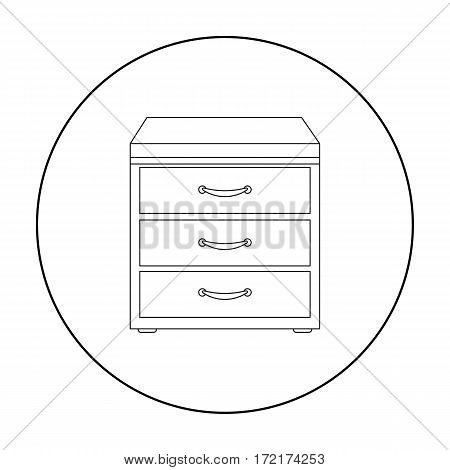 Office filing cabinet icon in outline style isolated on white background. Office furniture and interior symbol vector illustration.