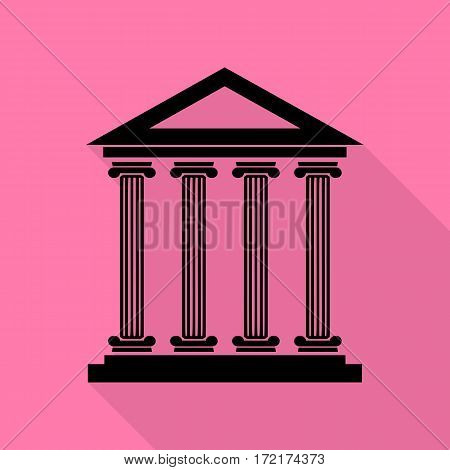 Historical building illustration. Black icon with flat style shadow path on pink background.