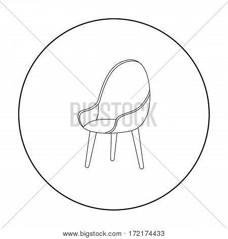 Red oval chair icon in outline style isolated on white background. Office furniture and interior symbol vector illustration.