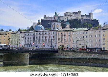 salzburg austria - april 25: the old castle upon the old city center in salzburg austria. shot taken on april 25th 2015