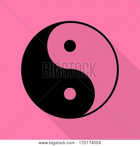 Ying yang symbol of harmony and balance. Black icon with flat style shadow path on pink background.