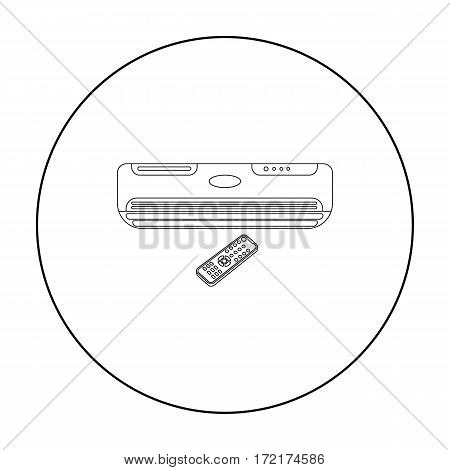 Air conditioner with remote control icon in outline style isolated on white background. Office furniture and interior symbol vector illustration.