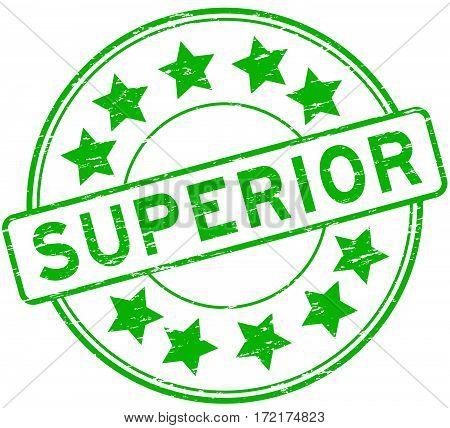Grunge green superior with star icon round rubber stamp