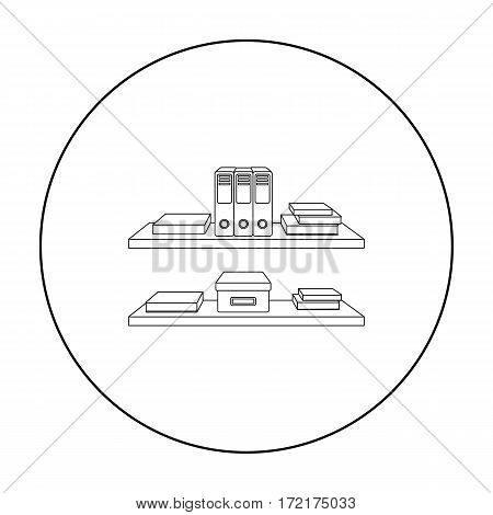 Office shelves with file folders icon in outline style isolated on white background. Office furniture and interior symbol vector illustration.
