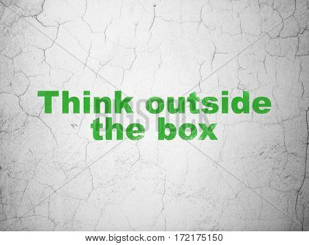 Studying concept: Green Think outside The box on textured concrete wall background