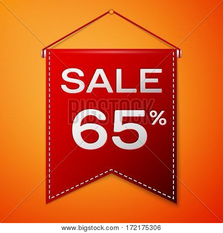 Red pennant with inscription sale sixty five percent Discounts over a orange background. Sale concept for shops store market, web and other commerce. Vector illustration.
