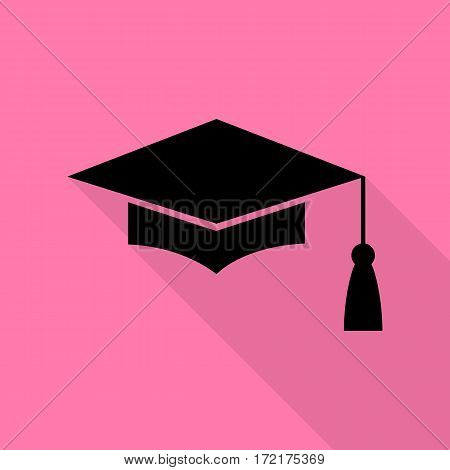 Mortar Board or Graduation Cap, Education symbol. Black icon with flat style shadow path on pink background.