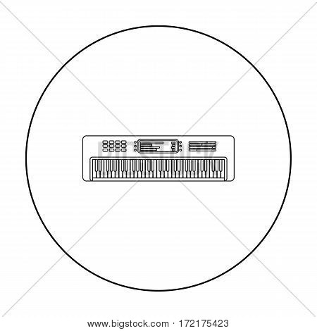 Synthesizer icon in outline style isolated on white background. Musical instruments symbol vector illustration