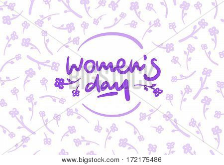 Womens day vector lettering logo postcard with flowers