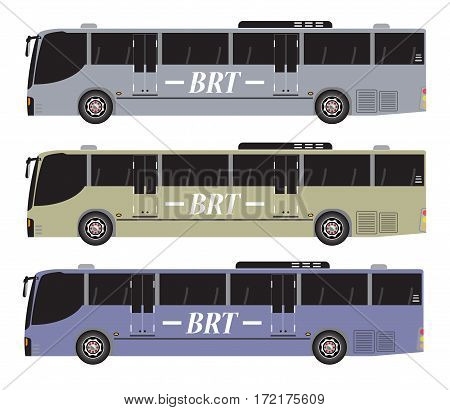 Set Of Bus Rapid Transit Or Brt