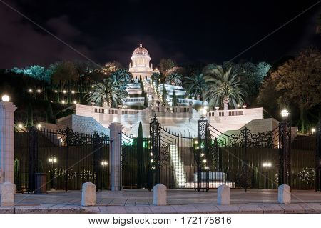 Temple in Bahai Garden in Haifa Israel at night
