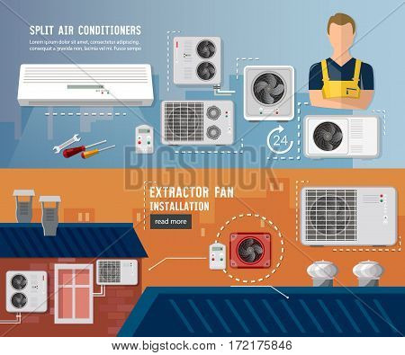 Installation of air conditioners service banner. Air conditioner installment and air conditioning repair. Split system check ventilation systems