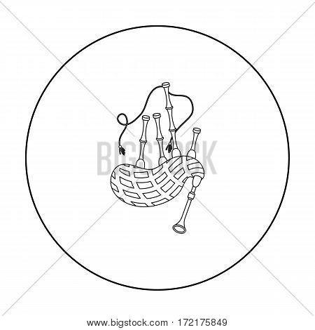 Bagpipes icon in outline style isolated on white background. Musical instruments symbol vector illustration
