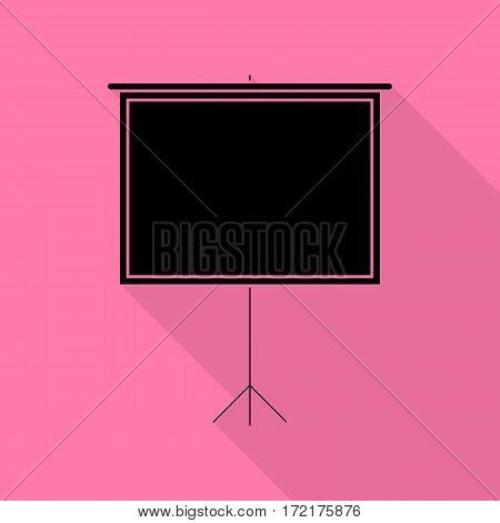 Blank Projection screen. Black icon with flat style shadow path on pink background.