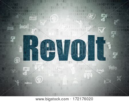 Political concept: Painted blue text Revolt on Digital Data Paper background with  Hand Drawn Politics Icons
