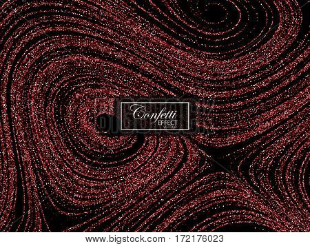Luxury holiday background with shiny red glitters. Vector illustration of glittering curled lines pattern. Vintage jewelery ornament. Festive paillettes decoration