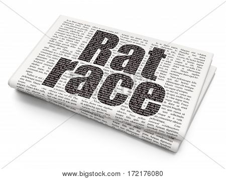 Politics concept: Pixelated black text Rat Race on Newspaper background, 3D rendering