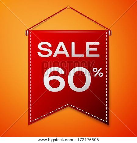 Red pennant with inscription sale sixty percent Discounts over a orange background. Sale concept for shops store market, web and other commerce. Vector illustration.