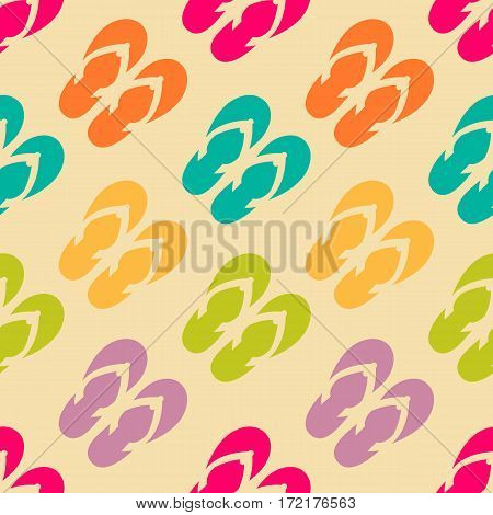Vector seamless pattern with colorful flip flops