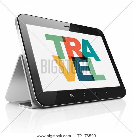Entertainment, concept: Tablet Computer with Painted multicolor text Travel on display, 3D rendering