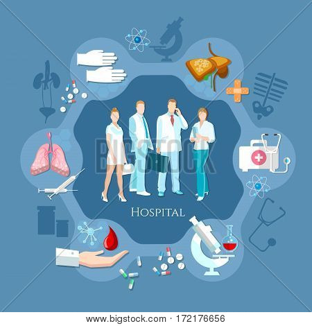Professional team of doctors. Hospital medicine staff health service human organs operating transplantation