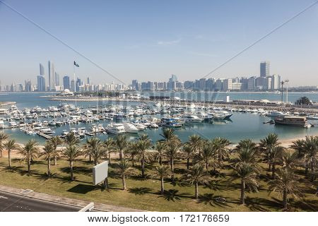 Elevated view over the Abu Dhabi marina and city skyline. United Arab Emirates Middle East