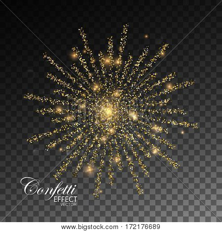 Fireworks isolated on transparent checkered background. Glowing explode of sparkling particles and stras. Sparkling glitters burst. Decoration holiday element for design. Festive ornament