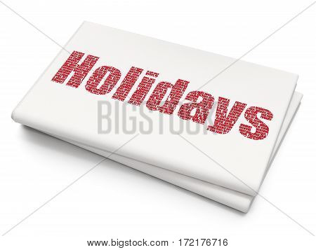 Entertainment, concept: Pixelated red text Holidays on Blank Newspaper background, 3D rendering