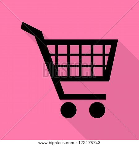 Shopping cart sign. Black icon with flat style shadow path on pink background.