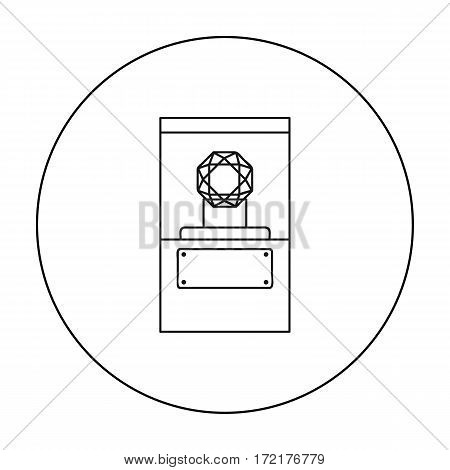 Diamond on a pedestal icon in outline style isolated on white background. Museum symbol vector illustration.