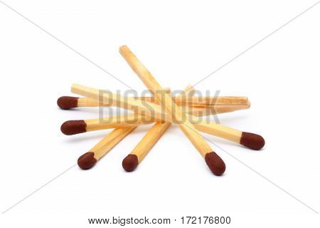 Pile of matches isolated on white background