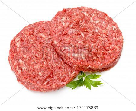Raw Hamburger Meat On White