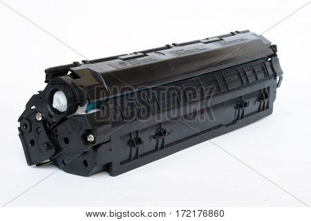 Plastic black printer cartridge isolated over white