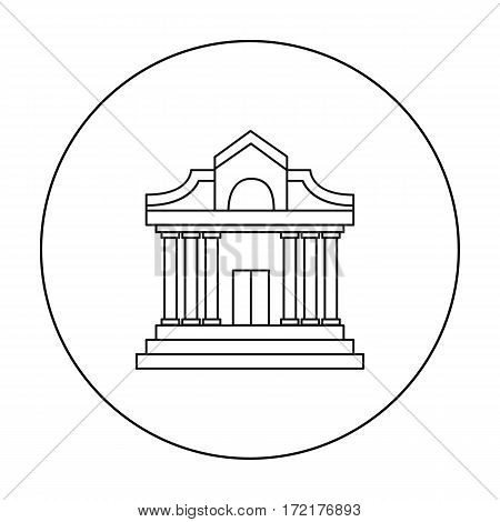 Museum building icon in outline style isolated on white background. Museum symbol vector illustration.