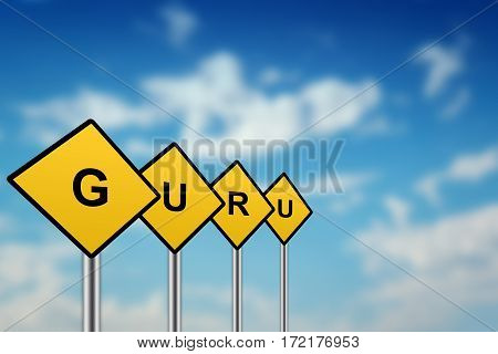 guru on yellow road sign with blurred sky background