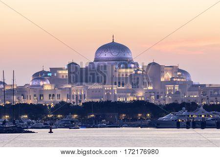 New Presidential Palace illuminated at night. Abu Dhabi United Arab Emirates