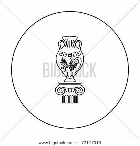 Amphora icon in outline style isolated on white background. Museum symbol vector illustration.