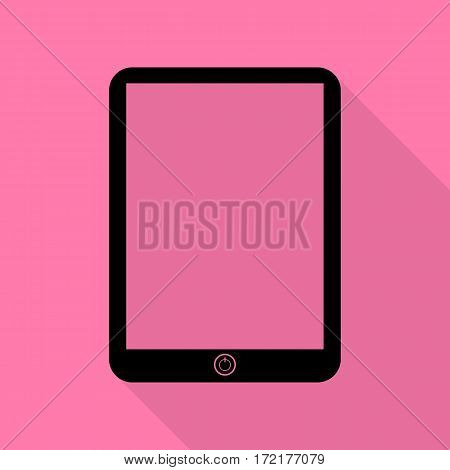 Computer tablet sign. Black icon with flat style shadow path on pink background.