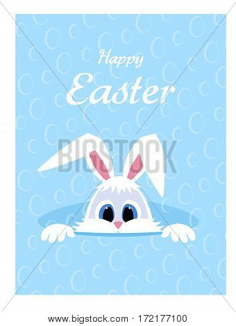Happy Easter greeting card with eggs background and rabbit. White cute Easter Bunny peeking out of a hole. long ears. Vector illustration.