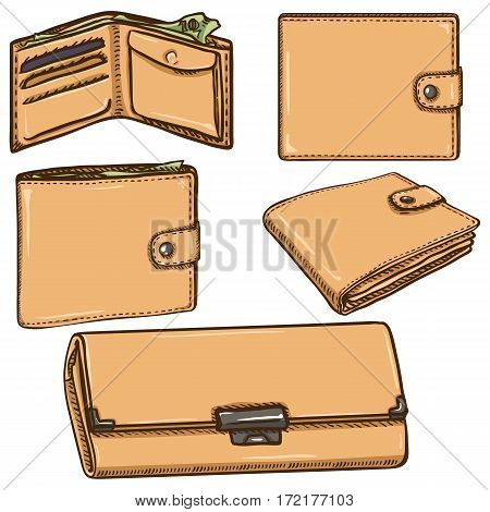 Vector Set Of Cartoon Wallets On White Background