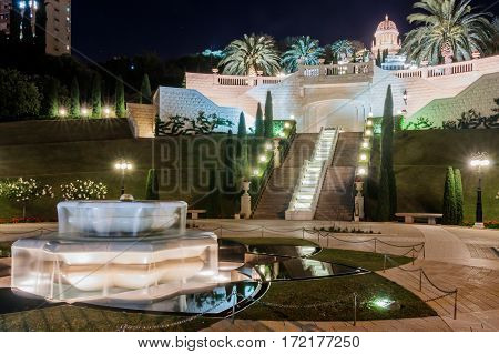 Temple In Bahai Garden In Haifa At Night