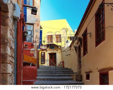 Stairs to the narrow streets of the old town in the sunny morning, Chania, Crete, Greece