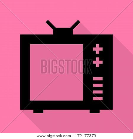 TV sign illustration. Black icon with flat style shadow path on pink background.
