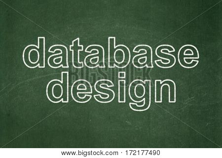 Software concept: text Database Design on Green chalkboard background