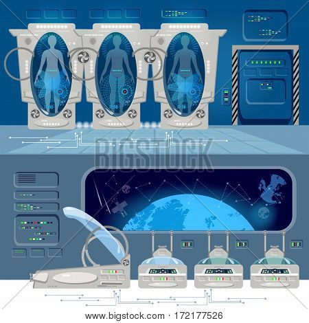 Space travel to other planets banner. Astronauts in cryogenic camera deep space interior of the interstellar ship. Technologies of future colonization of Universe