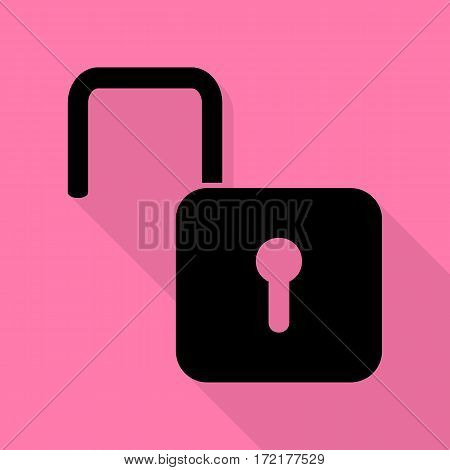 Unlock sign illustration. Black icon with flat style shadow path on pink background.