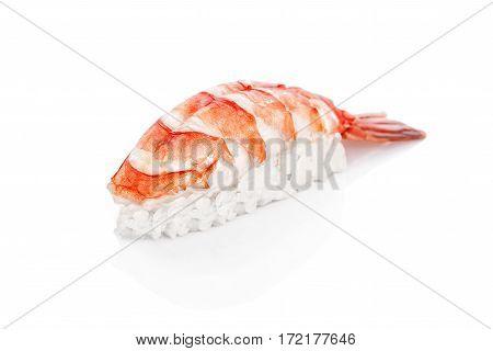 Sushi with shrimp, rice, nori on a white background