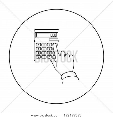 Calculation icon in outline style isolated on white background. Money and finance symbol vector illustration.